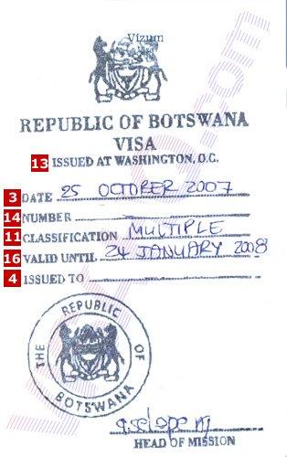 visa au Botswana